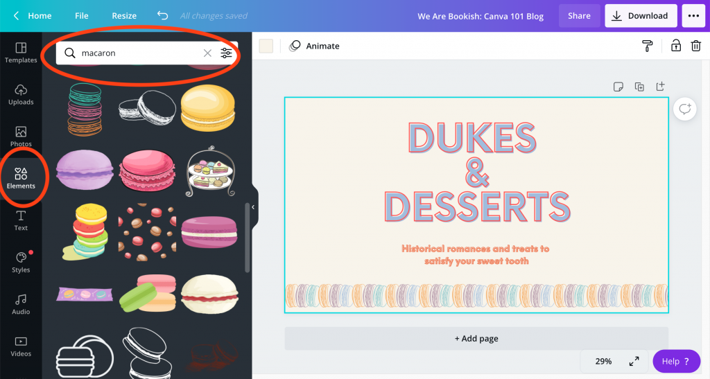 Canva document open showing a blog banner reading Dukes & Desserts with colorful macarons