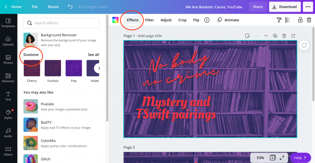 """Canva document open showing a bookcase tinted purple with red text over it reading """"Mystery and TSwift Pairings"""""""